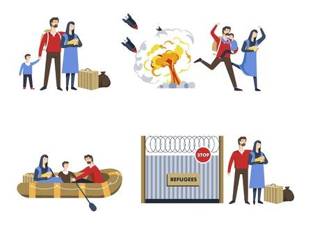 Refugees family immigrants war escape political shelter Иллюстрация