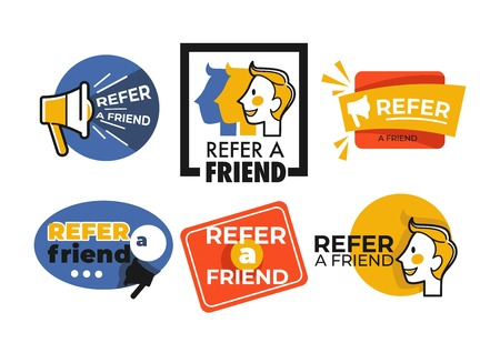 Refer friend web button isolated icons megaphone and face Ilustração