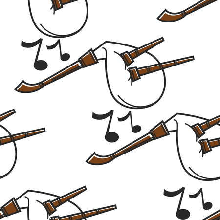 Bagpipe or gaida Bulgarian musical instrument seamless pattern vector music national symbol Bulgaria culture notes and melody endless texture folk live sound concert traveling wallpaper print. Vektorové ilustrace