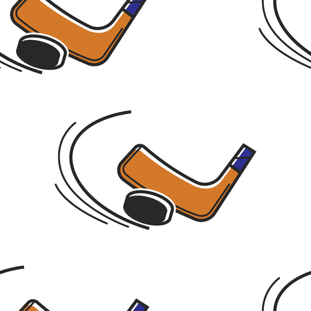 Puck and putter Canadian hokey ice sport seamless pattern vector sporting items Canada symbol and tradition sliding endless texture competition or championship and tournament traveling and culture.