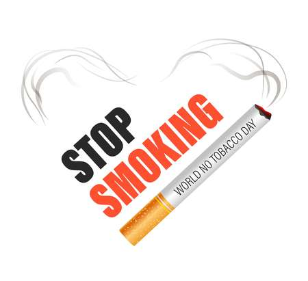 Cigarette stop isolated icon smoking world no tobacco day vector nicotine smoke lungs cancer risk quitting addiction harmful habit emblems or logo healthcare and air pollution forbidden or restriction. Ilustracja