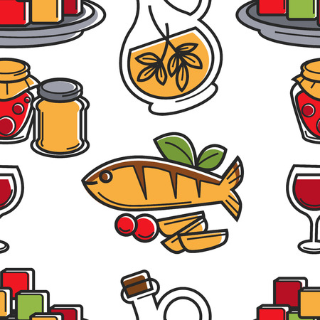Seafood and olive oil Cyprus cuisine seamless pattern vector fish and vegetables honey and pickles wine and seasoning endless texture fried salmon food and meal culinary restaurant menu wallpaper.