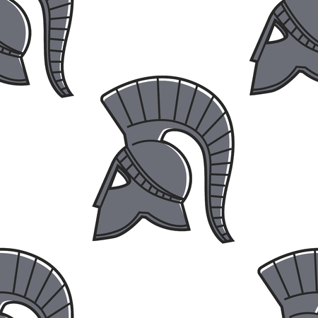 Gladiator helmet seamless pattern Ancient Greece symbol