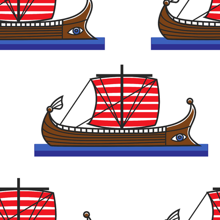 Galley or ancient Greek ship seamless pattern water transport travel to Greece wooden boat with sails endless texture transportation traveling journey or voyage and trip wallpaper print history.