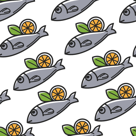 Greek food seamless pattern fish with lemon Greece cuisine vector seafood national dish endless texture cooking and culinary citrus fruit meal lunch or dinner wallpaper print traveling and tourism.