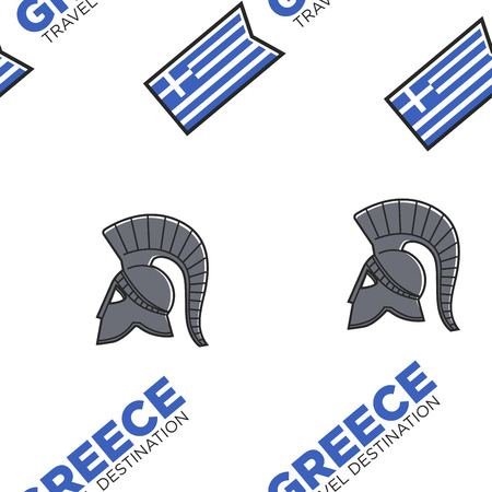 Gladiator helmet and Greek flag seamless pattern Greece travel destination