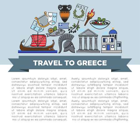 Greek symbols travel to Greece banner traveling and tourism vector national flag and alphabet torch and laurel wreath amphora and pillars olives and salad fish and boat theatrical masks and church. Illustration