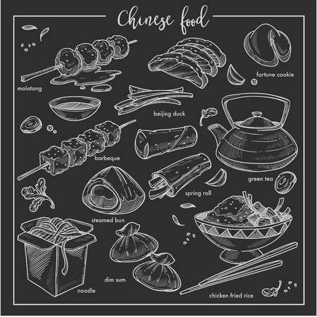 Restaurant menu Chinese food chalk sketch cuisine of China vector malatang and fortune cookie beijing duck and green tea spring roll and steamed bun barbecue and dim sum noodle and chicken fried rice.