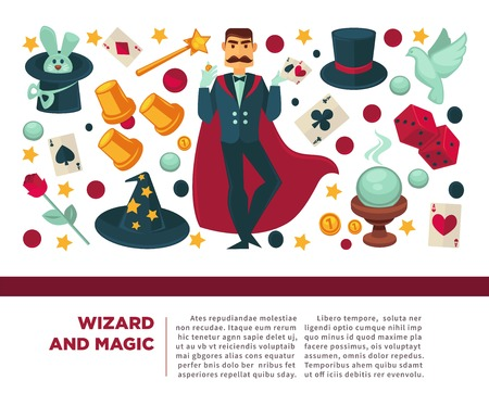 Wizard and magic man with magical attributes and elements Standard-Bild - 120907095