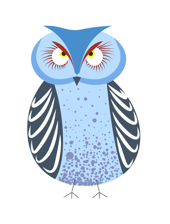 Owl wild forest bird red and blue plumage big eyes vector isolated night predator wildlife wisdom and knowledge symbol bulging eyeballs ornate feathers zoo biology species ornithology wing and beak. Çizim
