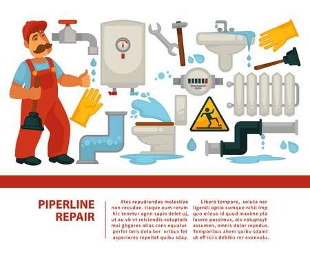 Pipeline repair plumber service and plumbing or piping banner