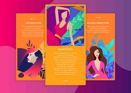 web page design templates for beauty, spa, wellness Vettoriali