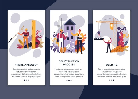 Construction process and building architectural project web page template vector divider and ruler apartment house and industrial crane teamwork engineering materials and tools Internet site
