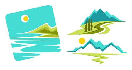 Mountains landscape and seascape or ocean coast isolated icons