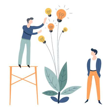 Business or startup growing and collecting ideas concept office worker and plant with light bulbs vector employees colleagues or coworkers entrepreneurs invention and great thought indoor flower.
