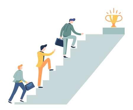 Career ladder and prize on top business concept businessman Ilustração