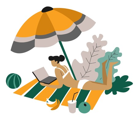 Freelancer woman on blanket with laptop distant work isolated female character in swimsuit under parasol with banana and drink beach resort or recreation and mobile business or job.