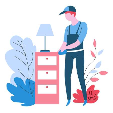 Cleaning agency service dust wiping isolated abstract icon vector housework and housekeeping furniture washing plant leaves dirt removal bedside table and lamp man in uniform dusting with duster cloth.