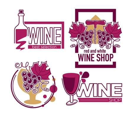 Wine store or shop isolated icons grape bunch and bottle Ilustração Vetorial