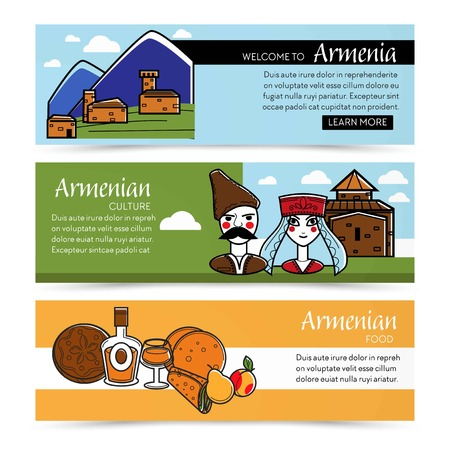 Nature and architecture Armenian culture and food web pages vector house in Caucasian mountains man and woman Armenia cuisine cognac and bread pita or lavash shawarma or roll pear and peach fruits.
