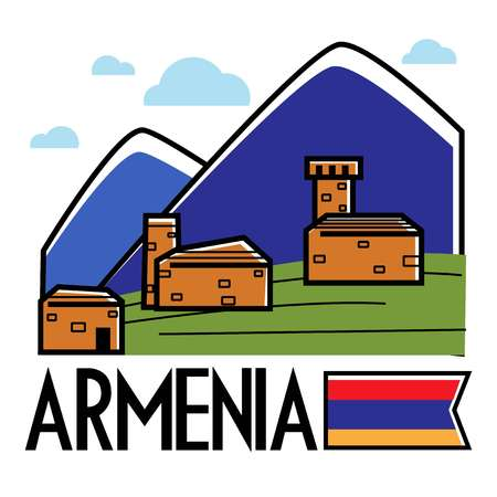 Ancient Armenian buildings in mountains Armenia traveling and tourism vector nature and architecture mounts and brick constructions national flag landscape or view journey or trip to Caucasus.