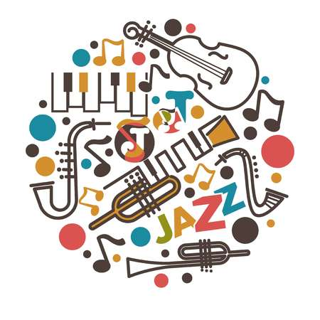 Jazz music isolated emblem musical instruments and notes