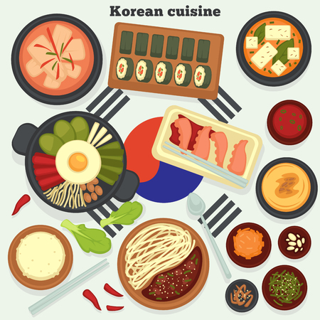 Travel to Korea Korean cuisine traditional dishes and meals vector kimchi soup and rolls hobak juk and bibimbap jajangmyeon and octopus rice and seaweed konggunksu national cooking and culinary.