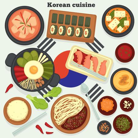 Travel to Korea Korean cuisine traditional dishes and meals vector kimchi soup and rolls hobak juk and bibimbap jajangmyeon and octopus rice and seaweed konggunksu national cooking and culinary.