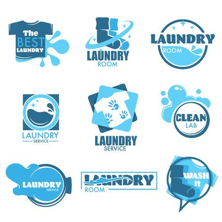 Wasservice geïsoleerd pictogram kleding en wasmachine Vector Illustratie