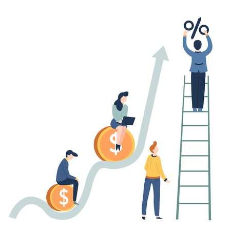 Salario de concepto de negocio de crecimiento de beneficios y monedas de oro vectoriales de inicio de carrera y aumento de porcentaje gráfico al hombre en la mujer de la escalera con el trabajo en equipo de empresarios y empresarios de laptop