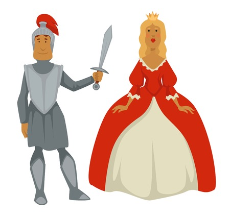 Princess in ball gown and knight in armor isolated Medieval characters vector man with sword and woman in cr own or diadem historical or fairytale personages kingdom warrior and female monarch.