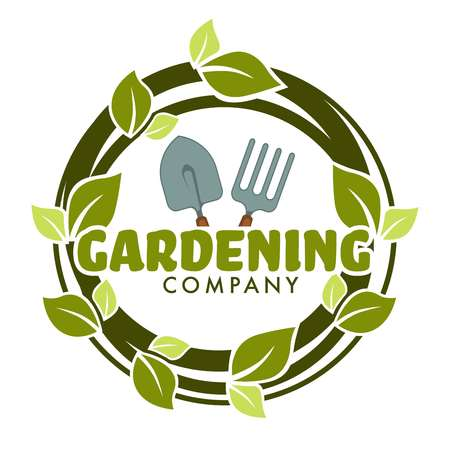 Gardening company isolated icon spade and forks green leaves Illustration