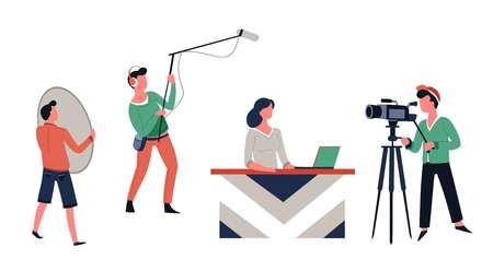 Lettore di notizie e cameraman TV show riprese o riprese vettore donna al tavolo con registratore audio portatile e tecnici dell'illuminazione operatore programma televisivo che trasmette videocamera dietro le quinte.