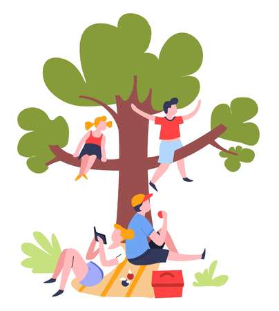 Family picnic under tree outdoor summer activity