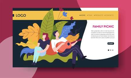 Man and woman on grass family picnic online web page template vector guy playing guitar music and outdoor pastime recreation on nature summer activity Internet site park and plants married couple.