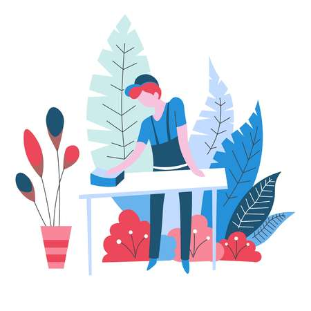 Cleaner wiping table cleaning service isolated abstract icon with plants vector male character in uniform duster or polishing cloth household chore and housekeeping cleanliness and hygiene housework. Illustration