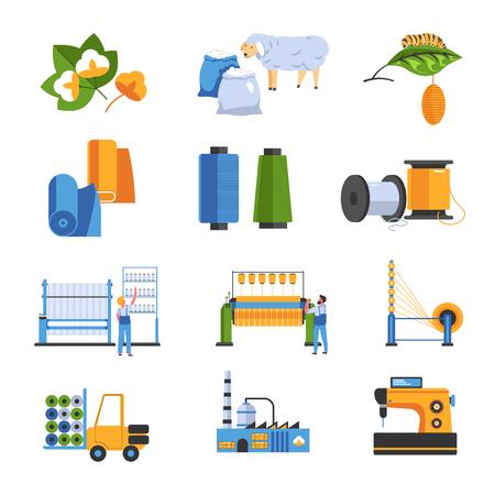 Icônes isolées d'usine textile coton et laine ou soie