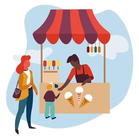 Mutter und Sohn Eiscreme Stall Sommer behandeln Einkaufsvektorkegel und Stick Lebensmittel und Milchprodukt Dessert kaufen Verkäufer in Schürzenfamilie zu Fuß im Park Frau und Kind Straße Snackstand mit Zelt.