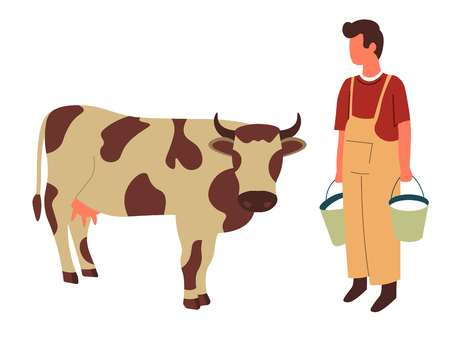Milk buckets farmer and cow farming and livestock animal or cattle vector isolated male character domestic mammal with horns and hoofs breeding agriculture meat and dairy products organic food ranch.