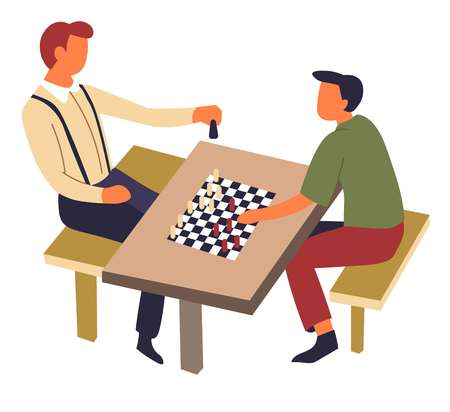 Chess game on table hobby and sport intellectual competition vector men and chessboard leisure and pastime playing check and mate move strategy tournament checkered field and pieces male characters.