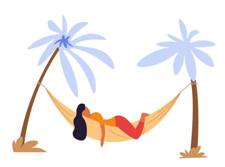 Summer vacation woman lying in hammock under palm trees isolated female character relax and recreation beach resort girl on tropical island traveling and tourism holidays paradise journey or trip. Illustration