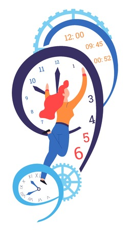 Time management and deadline clock dial and hands gil changing hour vector isolated female character productivity and advanced planning hurry and business work and job minutes and seconds cogwheels.
