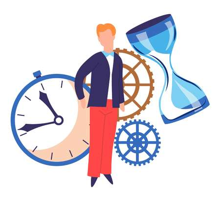 Timer and hourglass time concept cogwheels and man or businessman vector isolated male character advanced planning and management waiting or aging measurement tools mechanism details productivity.