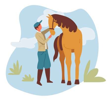 Rancher and livestock animal man and horse equestrian or farmer vector male character and mustang or stallion ranch or farm countryside horseback rider in boots mammal with mane and hoofs nature.
