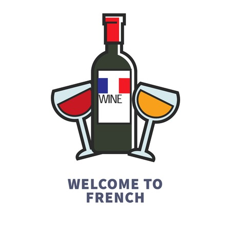 Welcome to French traditional drink red and white wine Ilustrace
