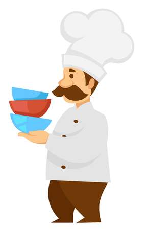Chef or cook in uniform with bowls pile vector isolated male character kitchen worker and dishware culinary and cooking man with mustaches profession or occupation uniform and hat restaurant or cafe.  イラスト・ベクター素材