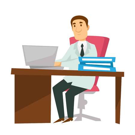 Therapist or physician in chair doctor at workplace with laptop vector isolated male character in white robe and tie medical worker medicine and healthcare reception and treatment prescription.