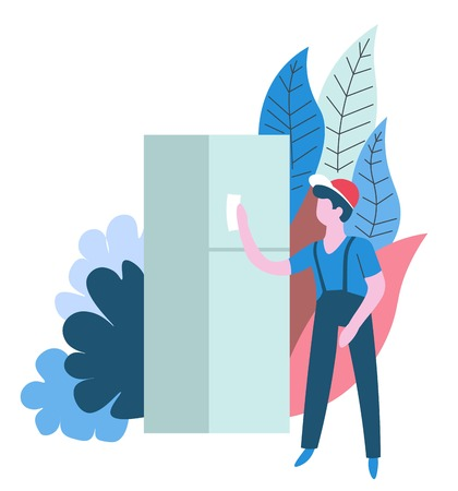 Housekeeping cleaning service worker wiping refrigerator isolated abstract icon vector fridge kitchen appliance polishing surfaces housework and household chore cleaner in overalls with cloth Illustration