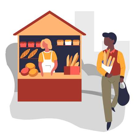 Vendor and buyer market bread stall bakery products vector loaves and baguettes vector baker man with packs and woman in apron homemade pastry organic wheat dough food marketplace shop or store. Ilustrace
