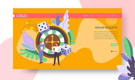 Gambling casino roulette wheel Internet web page template vector dice score win easy earning profit or jackpot stake or bet luck risk and opportunity rotation player or gambler and female croupier.